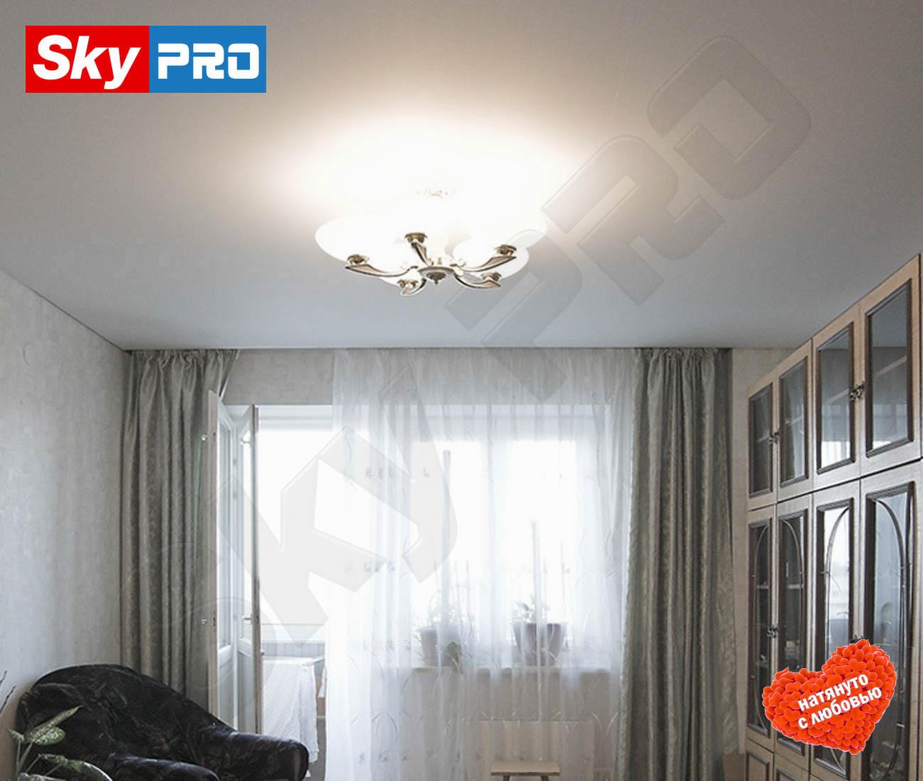 Белый матовый натяжной потолок Лайт цена за метр