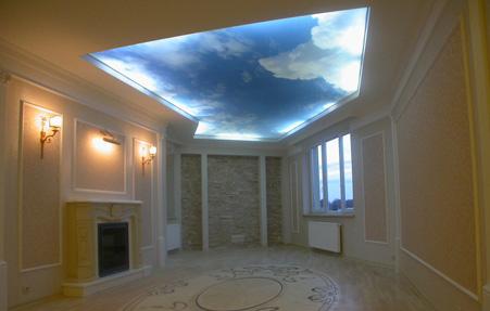 Натяжные потолки небо фото